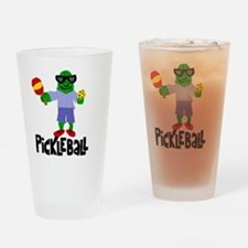 Pickle Playing Pickleball Drinking Glass