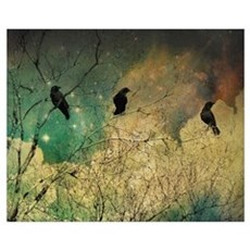 Crows And Clouds Canvas Art