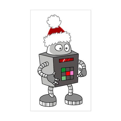 Christmas Robot Rectangle Sticker