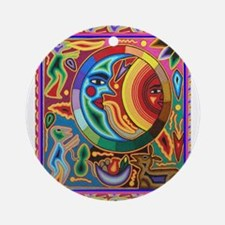 Mexican_String_Art_Image_Sun_Moon Ornament (Round)