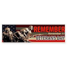 Remember Veterans Day, November 11 Bumper Car Sticker