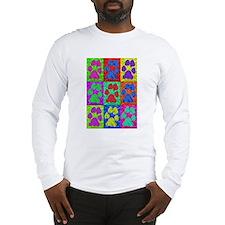 Dog Paws Pop Art Long Sleeve T-Shirt