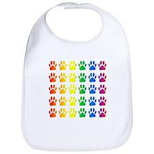 Rainbow Paw Print Pattern Bib