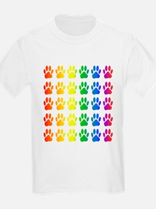 Rainbow Paw Print Pattern T-Shirt