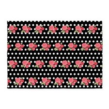 Polka Dots And Roses 5'x7'Area Rug