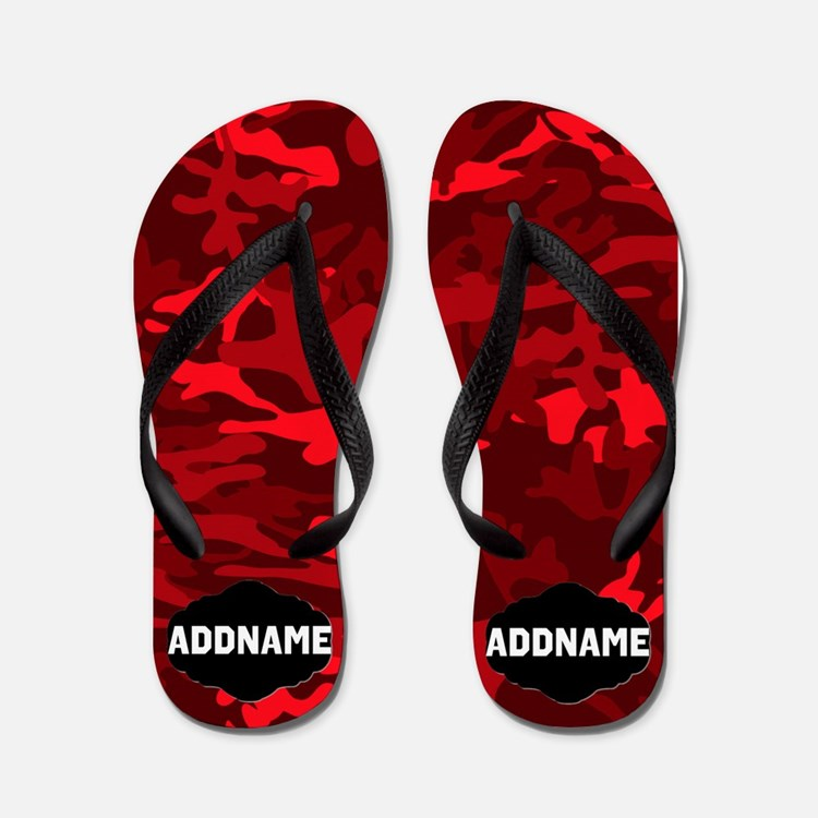 Red And Black Camo Flip Flops
