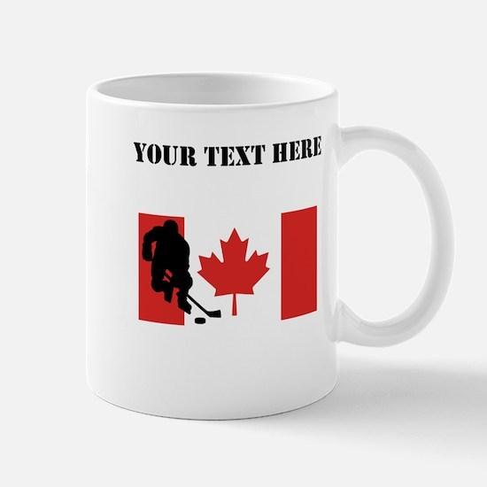 Hockey Player Canadian Flag Mugs
