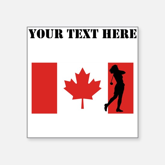 Woman Golfer Canadian Flag Sticker