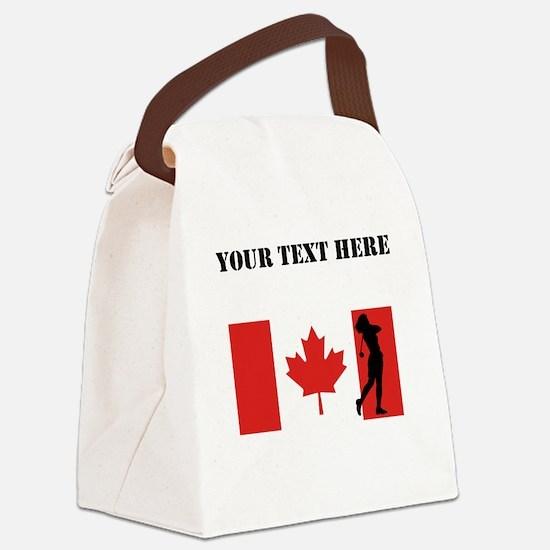 Woman Golfer Canadian Flag Canvas Lunch Bag