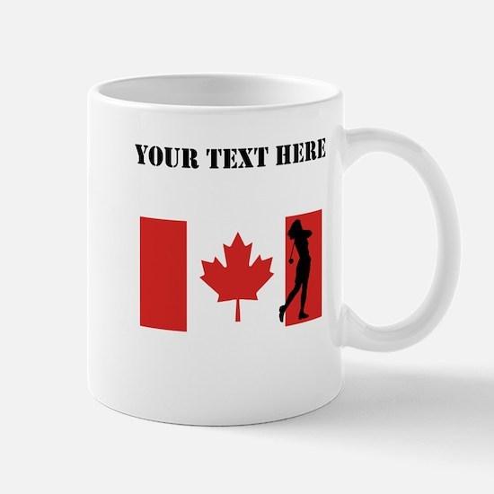 Woman Golfer Canadian Flag Mugs