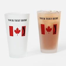 Golfer Canadian Flag Drinking Glass