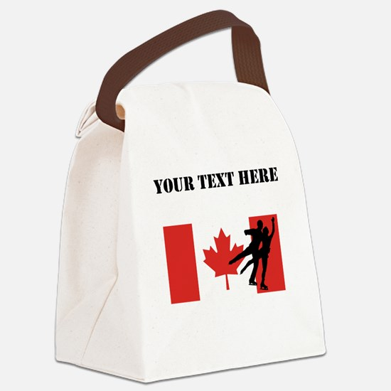 Figure Skaters Canadian Flag Canvas Lunch Bag