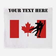 Figure Skaters Canadian Flag Throw Blanket