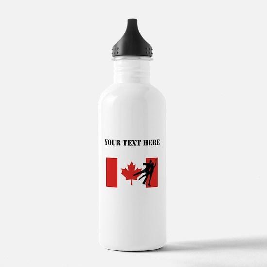 Figure Skaters Canadian Flag Water Bottle