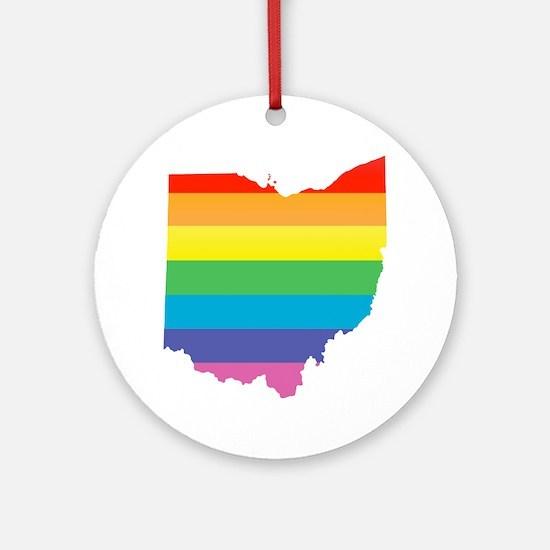 ohio rainbow Ornament (Round)