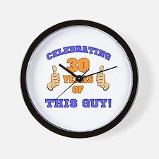 Celebrating 30th Birthday For Men Wall Clock