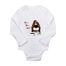 Cute Basset christmas Long Sleeve Infant Bodysuit