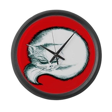 Vintage White Cat Large Wall Clock By Vintagevivian