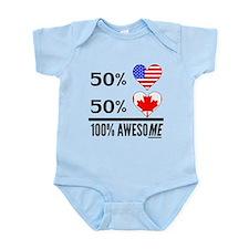 Half American Half Canadian Body Suit