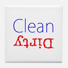 Clean Dirty Dishwasher Red Blue Becky Tile Coaster
