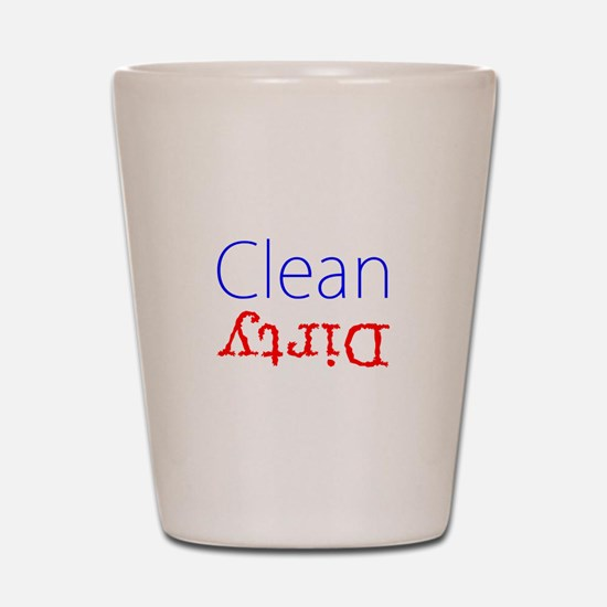 Clean Dirty Dishwasher Red Blue Becky's Shot Glass
