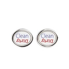 Clean Dirty Dishwasher Red Blue Bec Oval Cufflinks