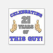 """Celebrating 21st Birthday F Square Sticker 3"""" x 3"""""""