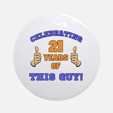 Celebrating 21st Birthday For Men Round Ornament