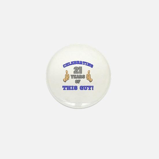 Celebrating 21st Birthday For Men Mini Button