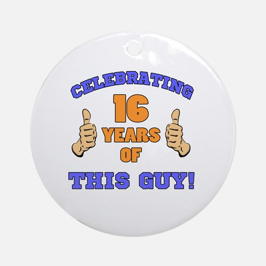 Celebrating 16th Birthday For Men Round Ornament