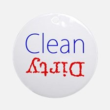 Clean Dirty Dishwasher Red Blue B Ornament (Round)