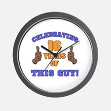 Celebrating 16th Birthday For Men Wall Clock