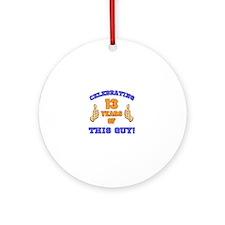 Celebrating 13th Birthday For Men Round Ornament