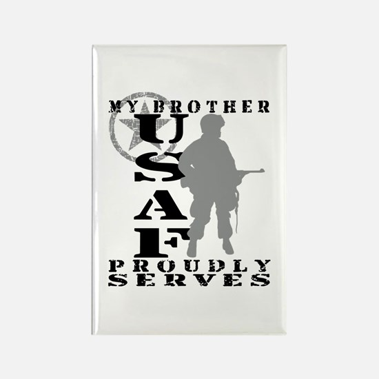 Bro Proudly Serves - USAF Rectangle Magnet