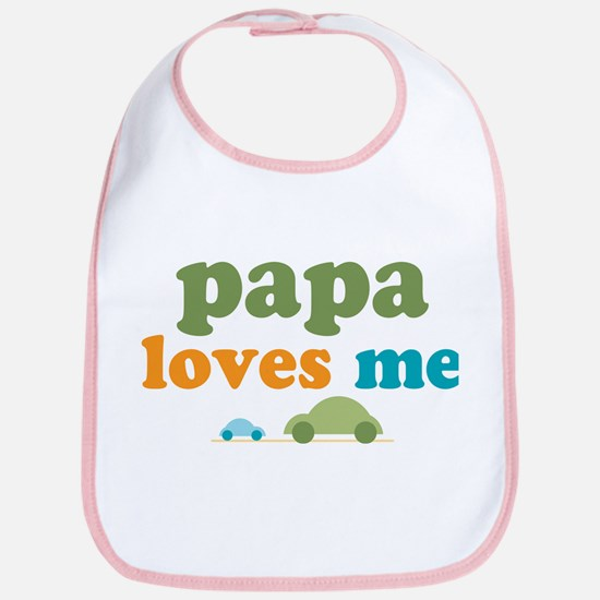 Papa Loves Me Cars Bib