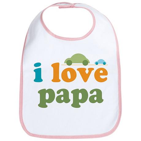 I Love Papa Cars Bib