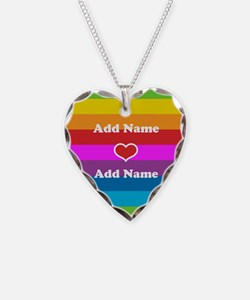 Rainbow Love Necklace Heart Charm