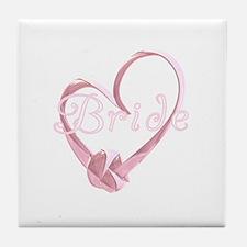 Pink Heart Bride Tile Coaster
