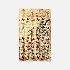 Grunge butterflies on wood Area Rug