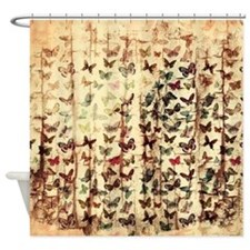 Grunge butterflies on wood Shower Curtain