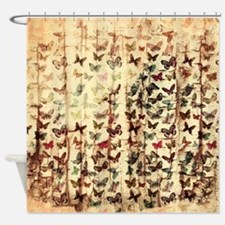 Grunge butterflies on wood Shower Curtain