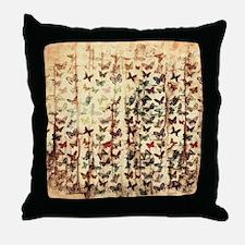 Grunge butterflies on wood Throw Pillow