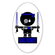 BAD ROBOT SABERS Oval Bumper Stickers