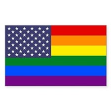 Rainbow American Flag Bumper Stickers