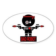 BAD ROBOT GUNS Oval Decal