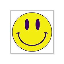 "Happy FACE Purple and Gold Square Sticker 3"" x 3"""