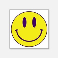 "Happy FACE Purple and Gold Square Sticker 3"" x 3"""