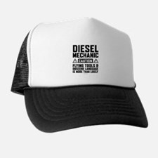 Diesel Mechanic Caution Trucker Hat