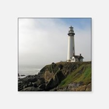 """Lighthouse on Cliff Square Sticker 3"""" x 3"""""""