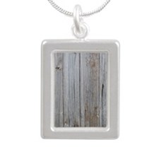 old wood Silver Portrait Necklace